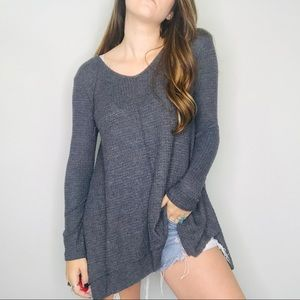 altar'd State gray waffle knit oversized thermal